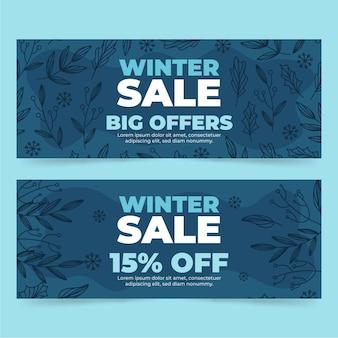 Getekende winterverkoop banners pack