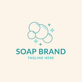 Getekende zeep logo sjabloon met bubbels