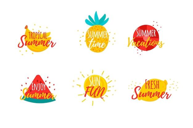 Getekende zomer badges thema