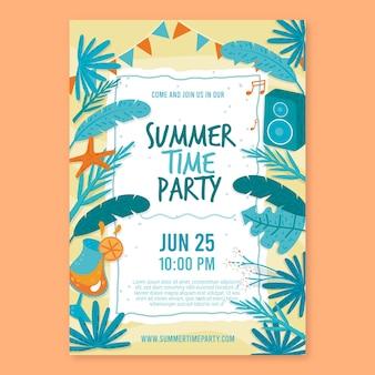 Getekende zomerfeest poster sjabloon stijl