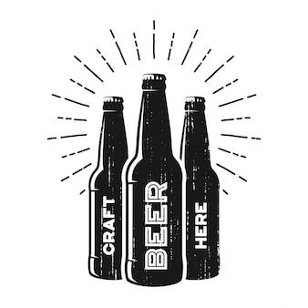 Getextureerde ambachtelijke biercafé, brouwerij, bar-logo.