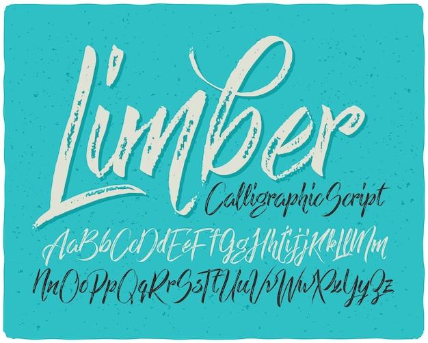 Getextureerde kalligrafische lettertypeset