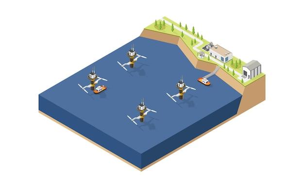 Getijdenenergie getijdencentrale in isometrische stijl