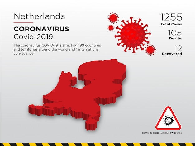 Getroffen land van ontwerpsjabloon voor coronavirusziekte