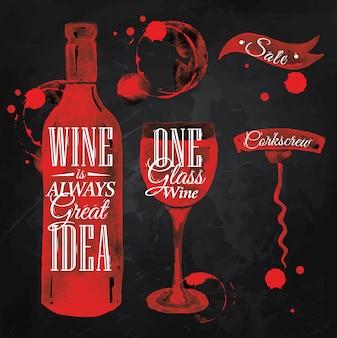Getrokken aanwijzer giet wijnkrijt