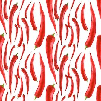 Getrokken aquarel naadloos patroon met hete peper