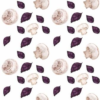 Getrokken aquarel naadloze patroon met champignons en paarse basilicum