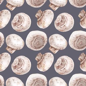 Getrokken aquarel naadloze patroon met champignons