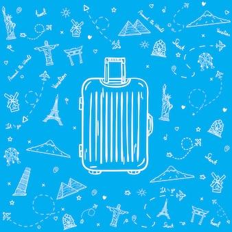 Getrokken bagage met reiselementen