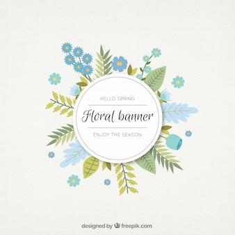 Getrokken blauwe bloemen en bladeren bloemen banner