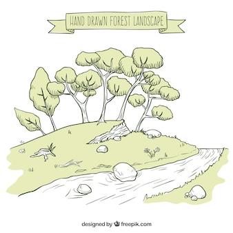 Getrokken bos hand landschap met bomen en een rivier