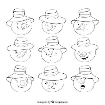 -getrokken collectie van snowman emoticons
