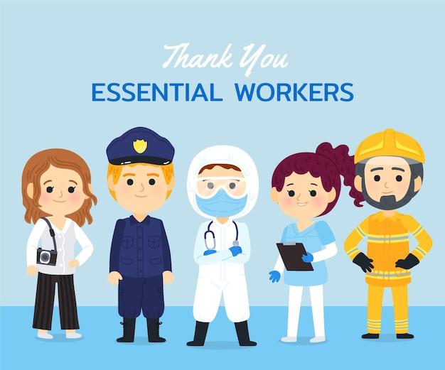 Getrokken dank u essentiële werknemers