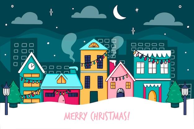 Getrokken de stadsnachthand van vooraanzicht stille kerstmis