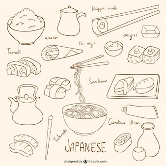 Getrokken japans voedsel collectie