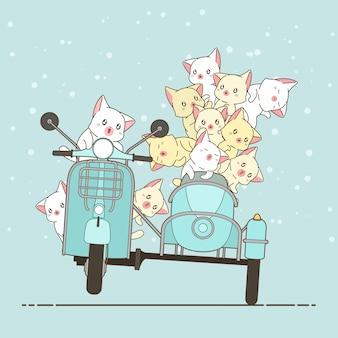 Getrokken kawaii ruiter kat en vrienden met motorfiets.