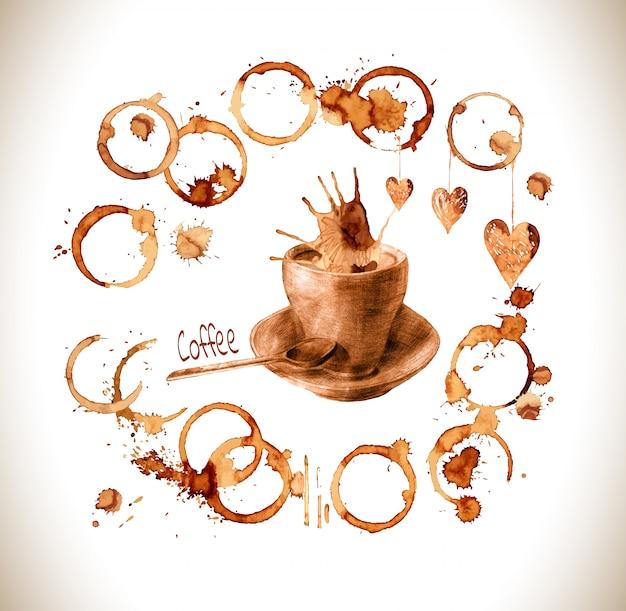 Getrokken kop giet koffie met plonsen en vlekken.