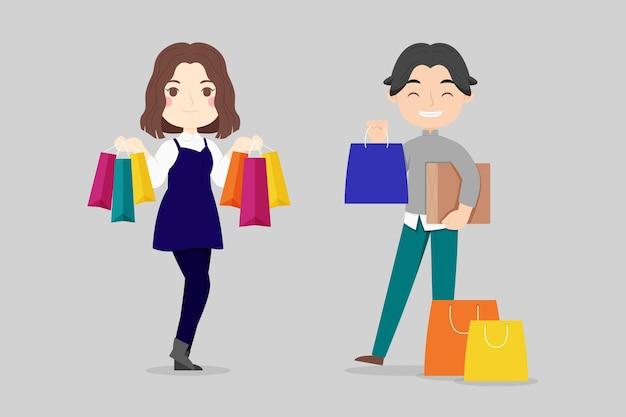 Getrokken mensen die in de verkoop illustratie winkelen