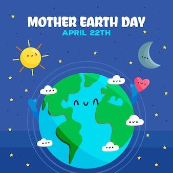 Getrokken moeder aarde dag illustratie