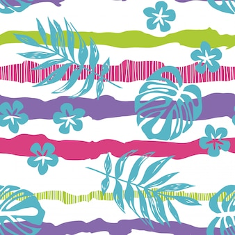 Getrokken tropische bladeren op een gestreept naadloos patroon.