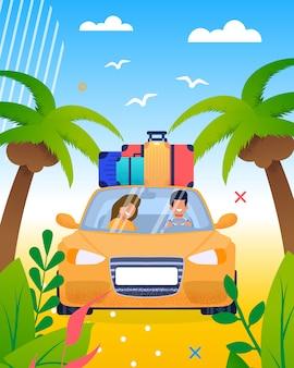 Getrouwd glimlachend paar die op vakantiebeeldverhaal gaan en