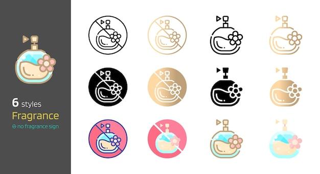 Geurige gratis en parfum cosmetica verschillende stijl collectie vectorillustratie
