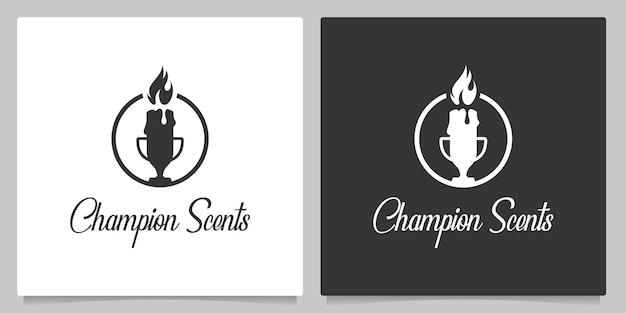 Geurkaars geurig en trofee-logo-ontwerp