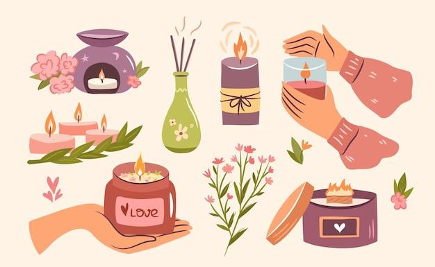 Geurkaarsen set gezellige verzameling kaarsen in handen in een potje hygge time