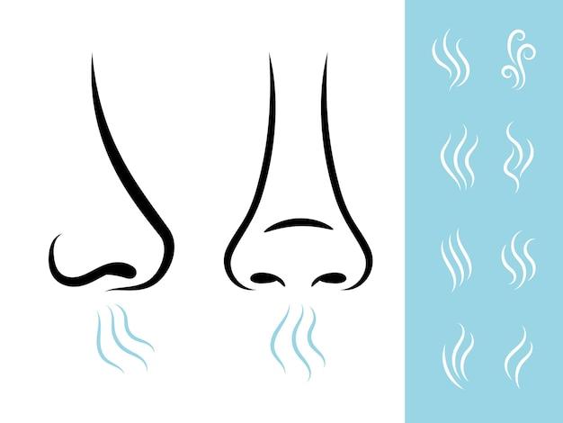 Geurpictogrammen met menselijke neus en lucht. ademhaling en aroma pictogrammen instellen