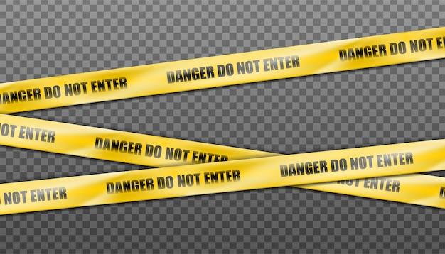Gevaar geel gestreept lint, waarschuwingstape van waarschuwingsborden.
