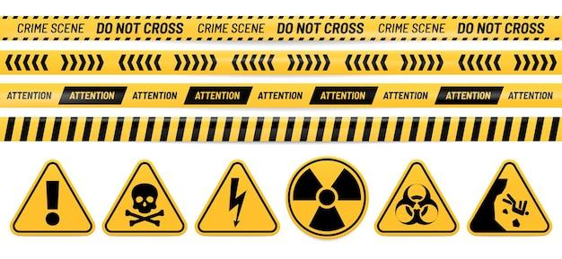 Gevaar lint en teken. attentie, gif, hoogspanning, straling, biologisch gevaar en vallende waarschuwingsborden.
