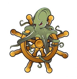 Gevaar octopus op stuurwiel voor tattoo design