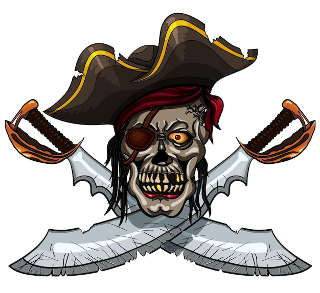 Gevaar piratenschedel in bandana en gekruiste zwaarden voor tatoeage of t-shirtontwerp