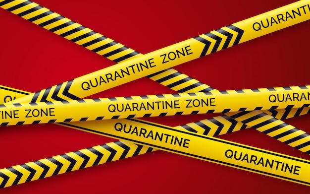 Gevaar tape quarantaine. waarschuwingstape hekwerk. zwarte en gele diagonale strepen. epidemie covid-19 oranje tape met inscriptie in quarantaine