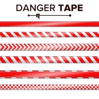 Gevaar tape vector. rood en wit. waarschuwing tape strips. realistische plastic politie gevaar tapes set