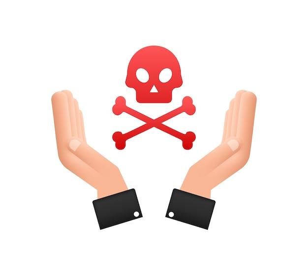 Gevaar teken in handen op witte achtergrond. vector illustratie.
