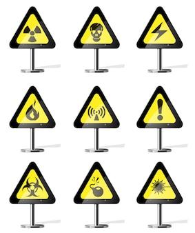 Gevaar teken pictogrammen. weg geel waarschuwingsbord