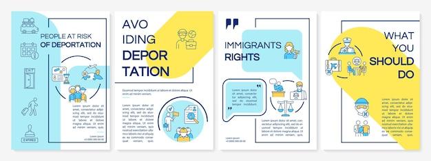 Gevaar voor deportatie brochure sjabloon. vermijd vertrek. flyer, boekje, folder afdrukken, omslagontwerp met lineaire pictogrammen. vectorlay-outs voor presentatie, jaarverslagen, advertentiepagina's