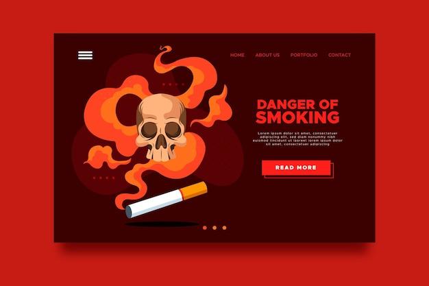 Gevaar voor roken bestemmingspagina-sjabloon