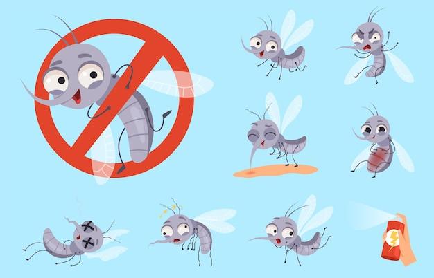 Gevaarlijke mug. insecten en waarschuwingsvliegjes dieren muggenhulp cartoon set.