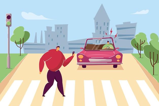 Gevaarlijke situatie bij zebrapad. platte vectorillustratie. achteloos man lopen op zebrapad met koptelefoon, smartphone. bange bestuurder die ongeval vermijden. veiligheid, verkeerswetten, concept