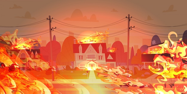 Gevaarlijke wildvuur op straat met brandende burgerhuizen brand ontwikkeling broeikaseffect natuurramp concept intense oranje vlammen horizontaal