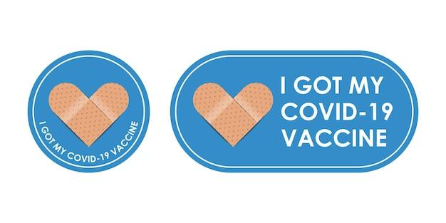 Gevaccineerd verbandpictogram met citaat - ik kreeg covid 19-vaccin geïsoleerd op een witte achtergrond, vectorillustratie