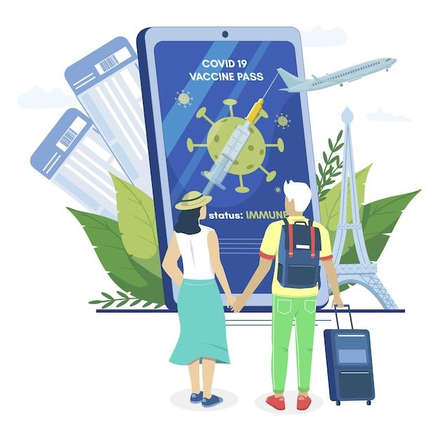 Gevaccineerd voor covid paar smartphone met vaccin paspoort vector illustratie digitale covid reis...