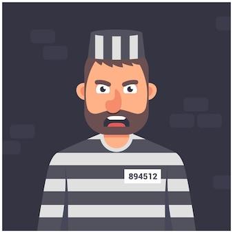 Gevangene in een cel. gestreept uniform. karakter op een donkere achtergrond vector illustratie.
