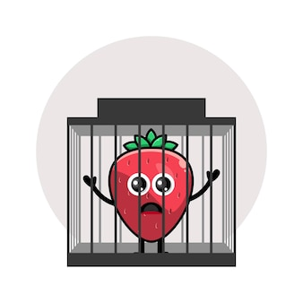 Gevangenis aardbei schattig karakter logo