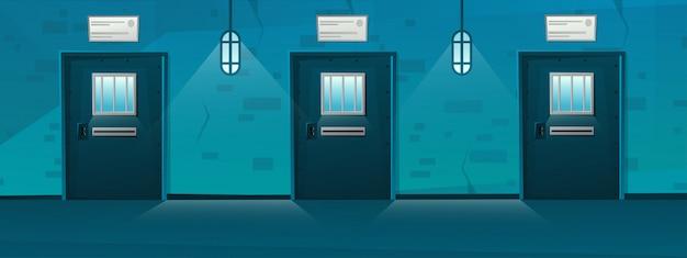 Gevangenis gang met raster deur in cartoon-stijl. hal gevangenis interieur met rooster. tekenfilm