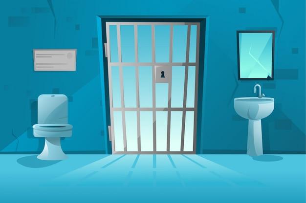 Gevangeniscelinterieur met rooster, rasterdeurgevangenis