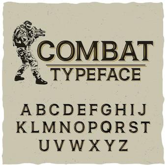 Gevechts lettertype poster met hand getrokken soldaat op grijs