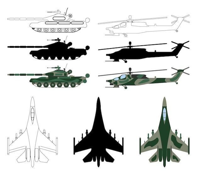 Gevechtsvliegtuigen, tank, helikopter in silhouet geïsoleerde cartoonstijl.